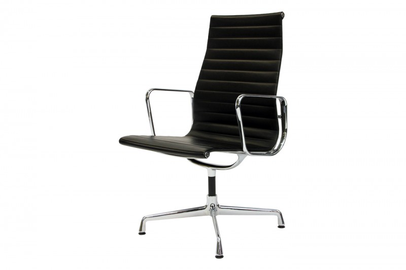 Vitra Aluminium Chair EA 112 Konferenzstul Leder / Schwarz