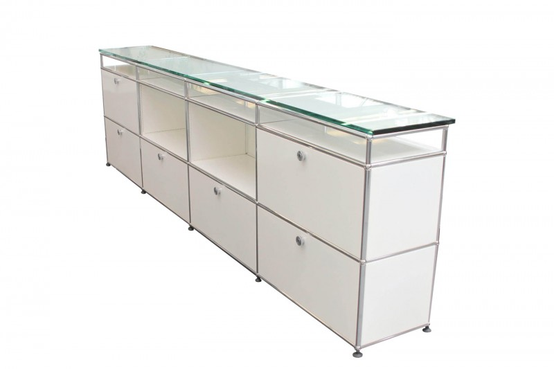 USM Haller Sideboard with Glass Top Pure White RAL 9010