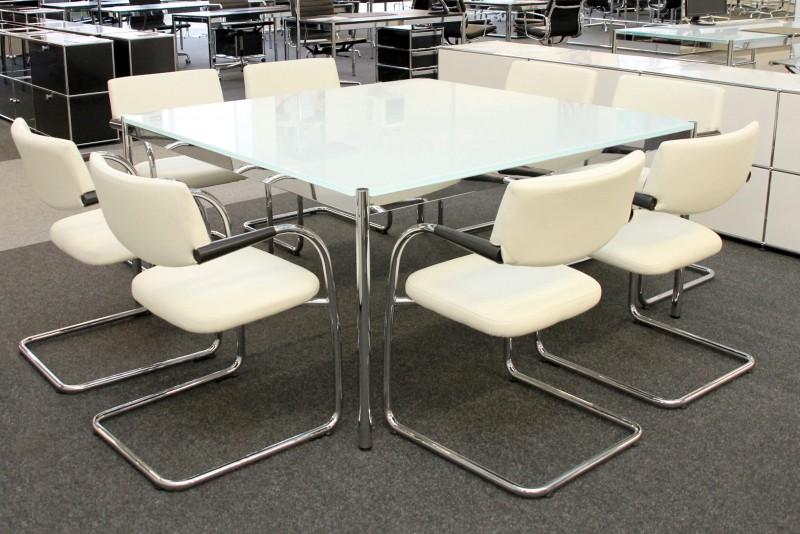 USM Haller Konferenztisch Glas / Weiß 150 x 150 cm