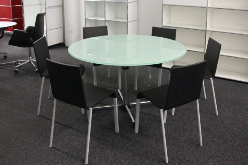 USM Kitos Conference Table Glass / White Ø 130 cm