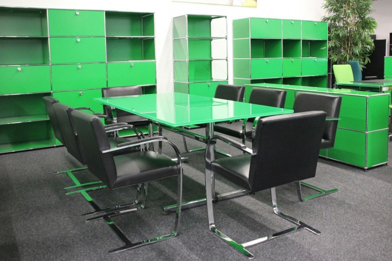 USM Kitos Conference Table Glass / Green 200 x 100 cm