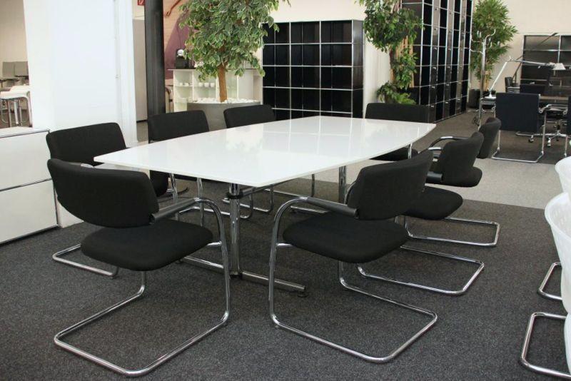 USM-Kitos Konferenztisch Granit / Weiß 220 x 120 cm