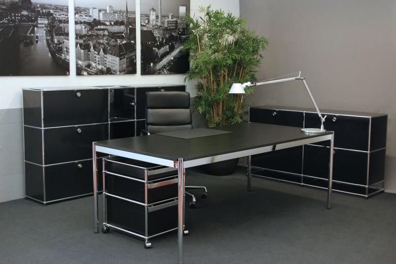 usm haller schreibtisch schwarz 175 x 100 cm schreibtische usm haller designklassiker. Black Bedroom Furniture Sets. Home Design Ideas