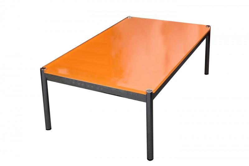 USM Haller Beistelltisch Glas / Orange 125 x 75 cm