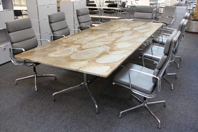 Vitra Konferenztisch Granit / Grau / Braun gemustert 300 x 120 cm