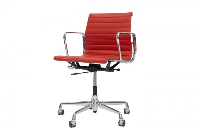 Vitra EA 117 Bürodrehstuhl Premium Leder / Rot-Orange