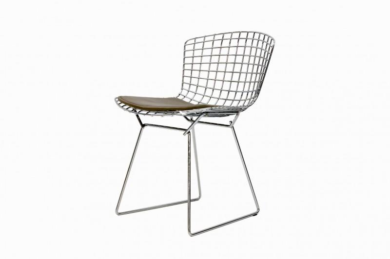 Knoll International Bertoia Stuhl Metall / Leder / Beige