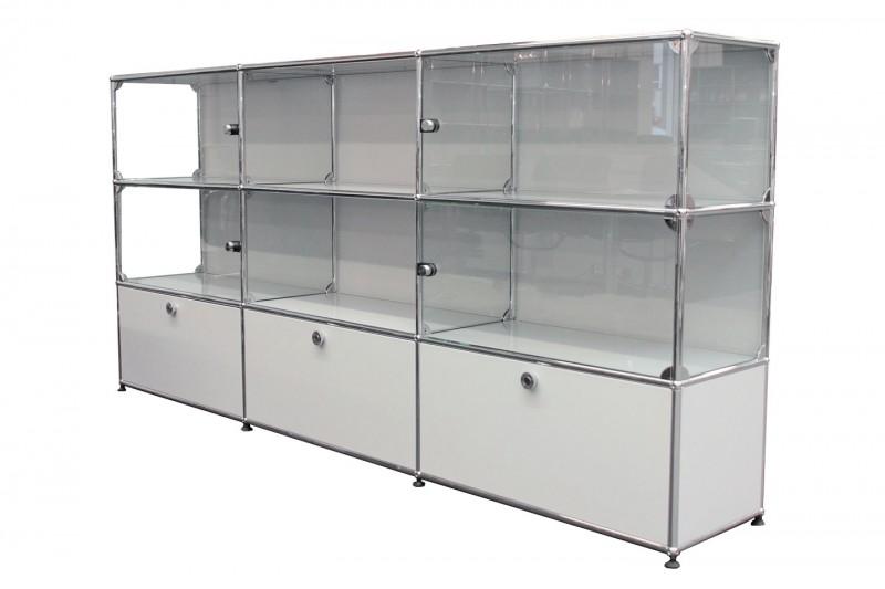 USM Haller wall shelf / display case light grey RAL 7035