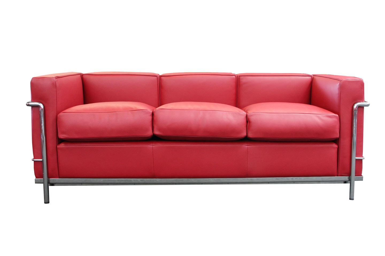 Cassina LC21 Le Corbusier Three Seater Sofa Leather / Dark Red ...