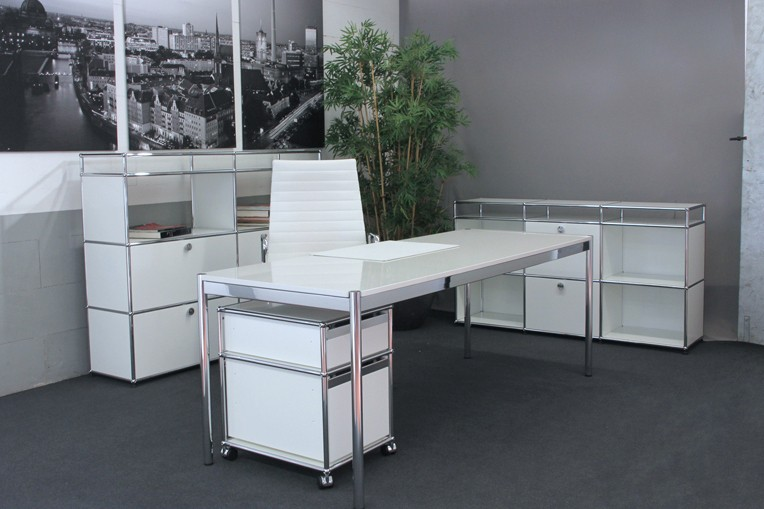 USM Haller Desk Granite / White 175 x 75 cm