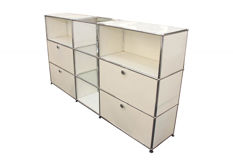 USM Haller Sideboard Pure White RAL 9010 with Glass Top