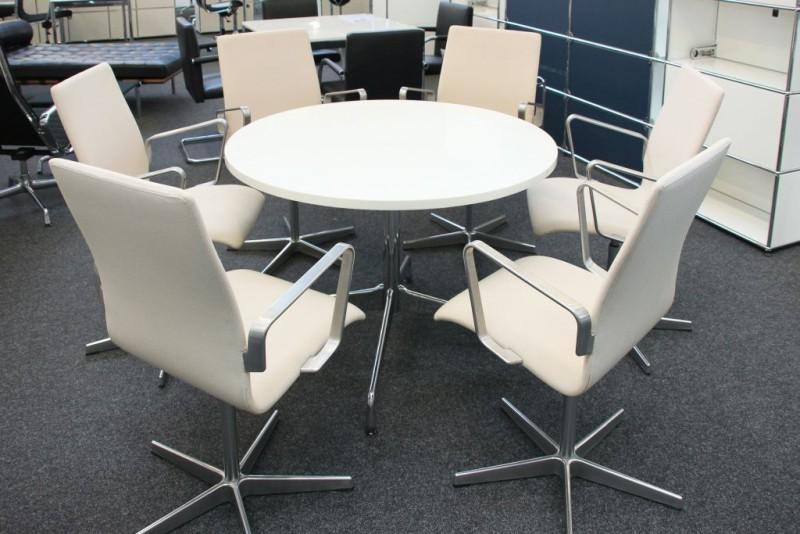 Vitra Konferenztisch Granit / Weiß Ø 110 cm