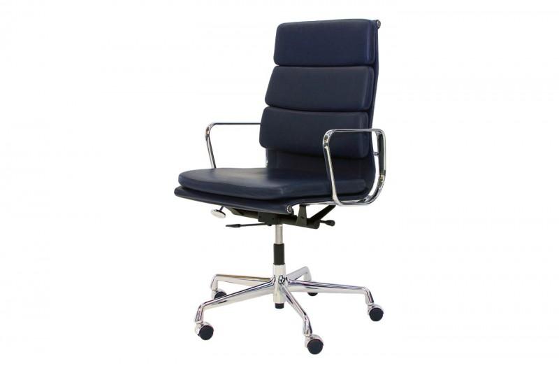 Vitra Soft Pad EA 219 Bürodrehstuhl Leder / Blau