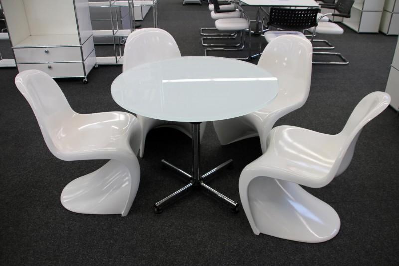 USM-Kitos Konferenztisch Glas / Weiß Ø 90 cm