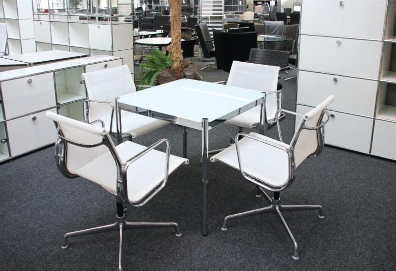 USM Haller Konferenztisch Glas / Weiß 75 x 75 cm