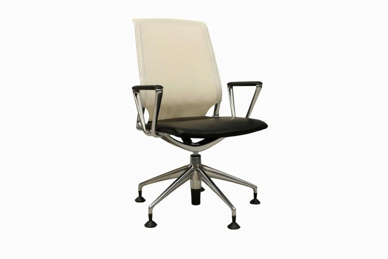 Vitra Meda Chair Besucherstuhl Netz / Leder / Weiß / Schwarz