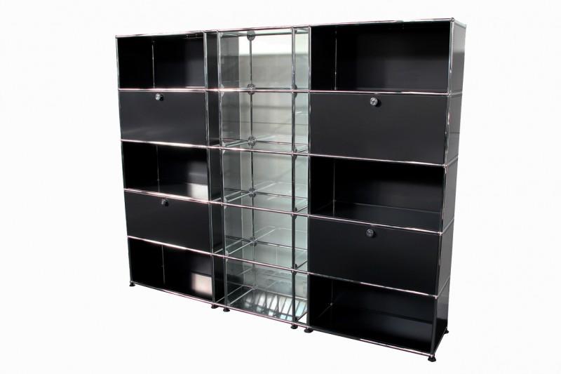 USM Haller Wall Shelf with Glass Elements Graphite Black RAL 9011