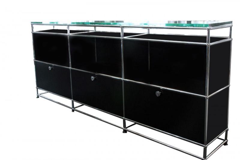 USM Haller Sideboard mit Glasplatte Graphitschwarz RAL 9011
