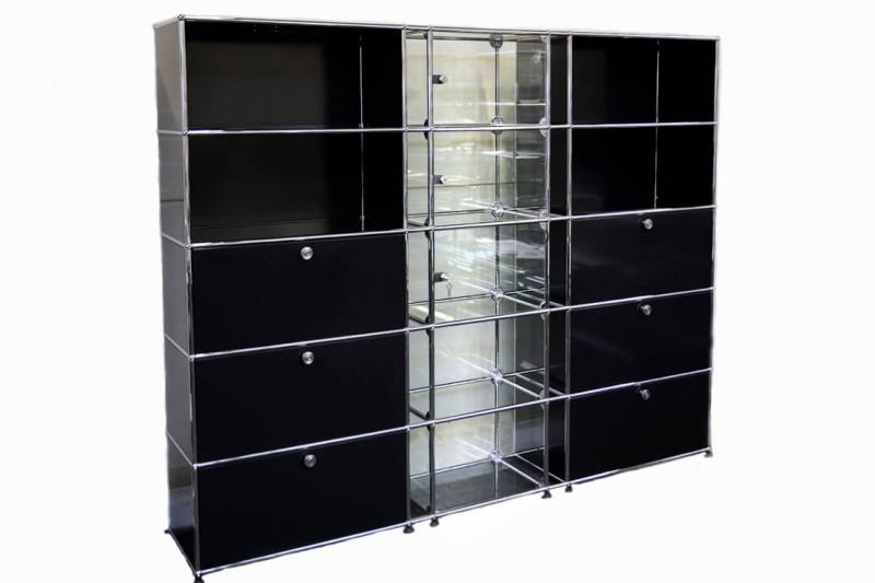 USM Haller Wall Shelf / Glass Cabinet Graphite Black RAL 9011
