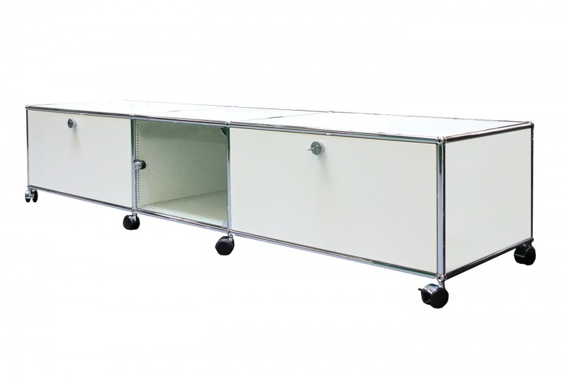 USM Haller TV-Board / Lowboard mit Glastür Reinweiß RAL 9010