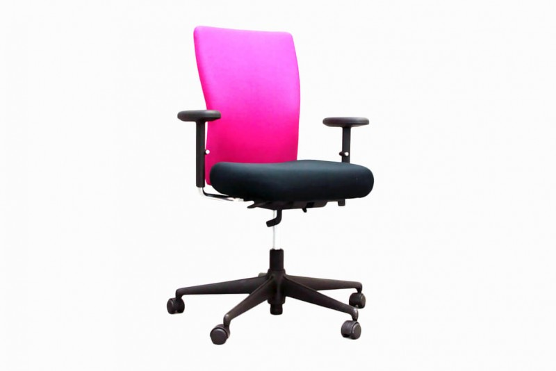 Vitra T-Chair Bürodrehstuhl Stoff / Schwarz / Pink