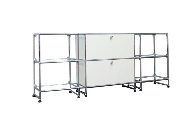 USM Haller Sideboard mit Glasfächern Reinweiß RAL 9010