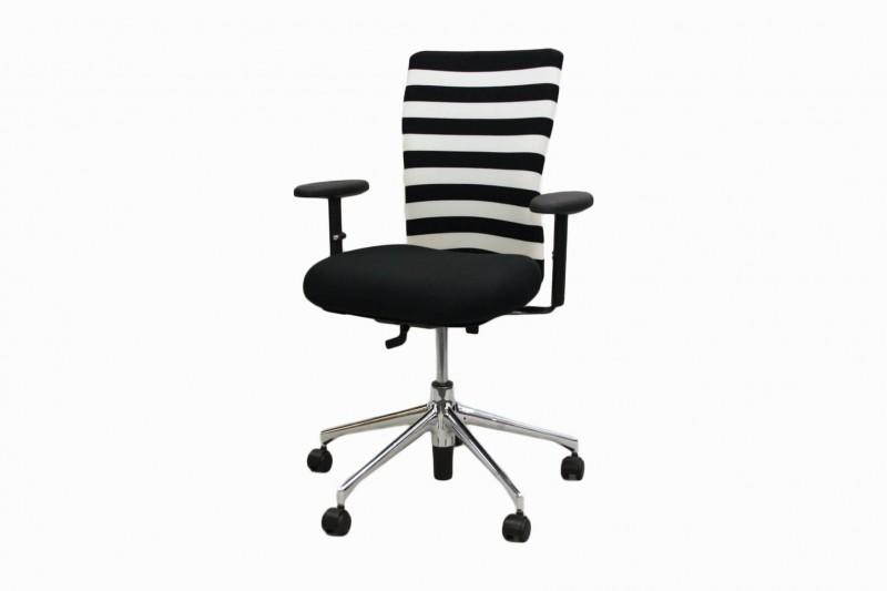 Vitra T-Chair Bürodrehstuhl Stoff / Schwarz / Weiß