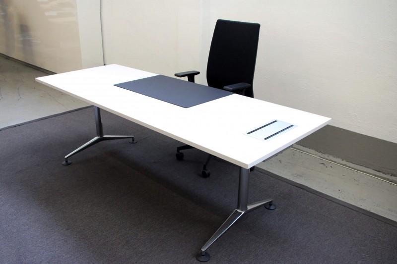 Vitra Schreibtisch / Konferenztisch Holz / Weiß 220 x 80 cm