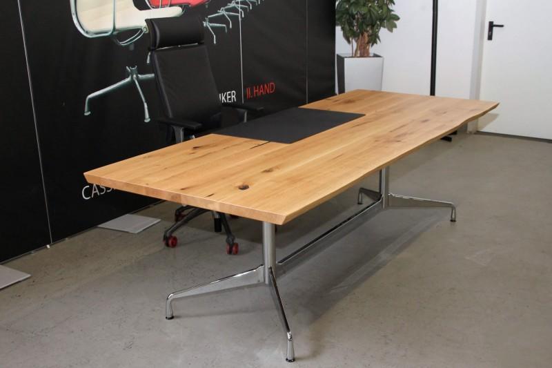 Designer Schreibtisch / Konferenztisch Massivholz mit Vitra-Gestell 240 x 100 cm