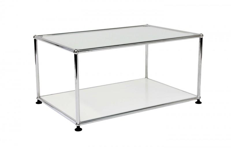 USM Haller Beistelltisch Glas / Satiniert / Reinweiß RAL 9010 75 x 35 cm