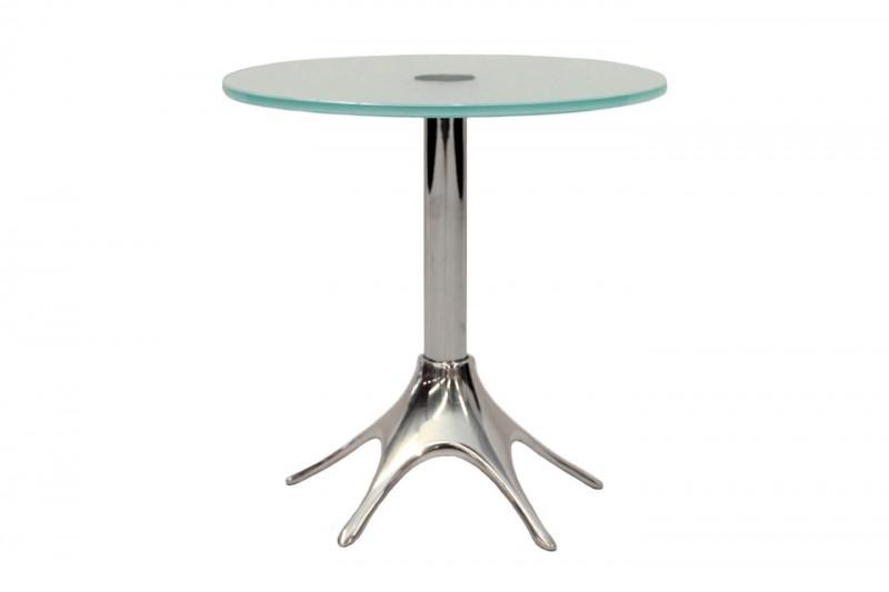 Designer Beistelltisch Glas / Metall Ø 35 cm