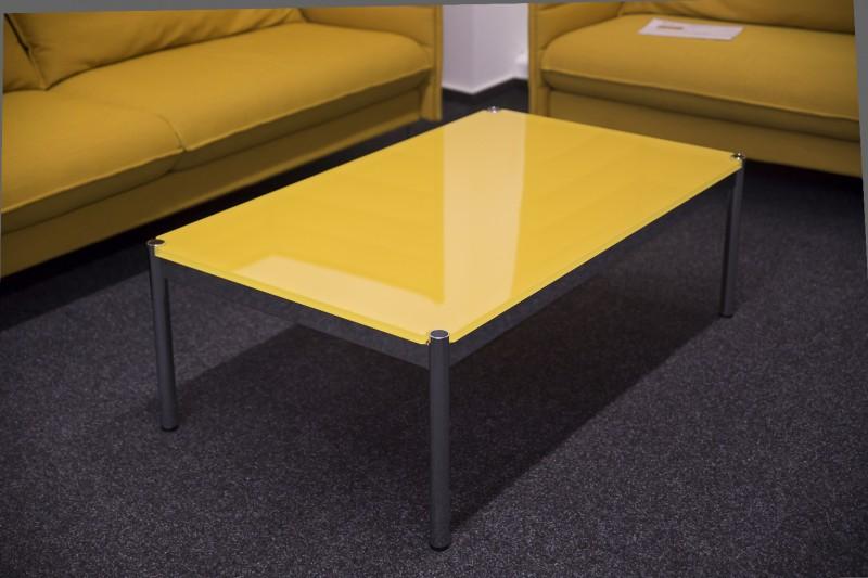 USM Haller Beistelltisch Glas / Gelb 125 x 75 cm