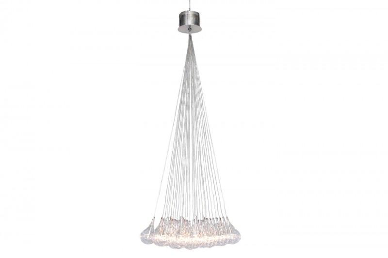 Designer Pendant Lamp Wire 30flamy Clear Glass / Nickel Matt