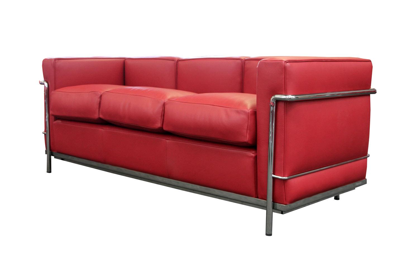 Cassina LC21 Le Corbusier Three Seater Sofa Leather / Dark Red