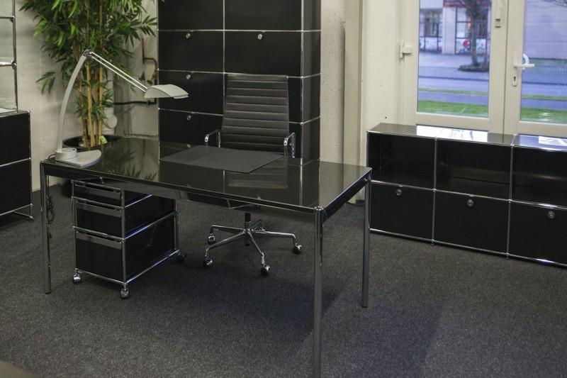 USM Haller Granit / Schwarz Schreibtisch 175 x75 cm