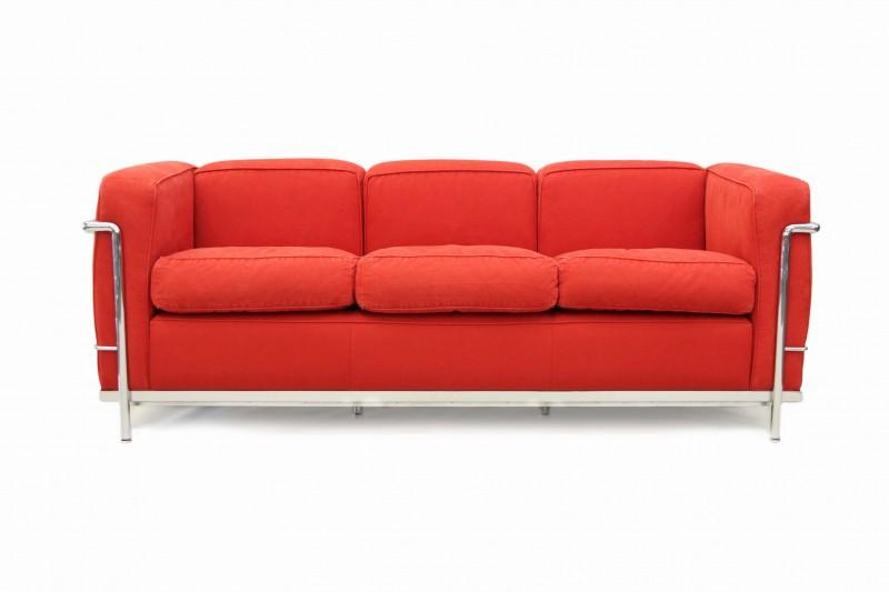 Cassina LC2 Le Corbusier 3-er Sofa Stoff / Rot