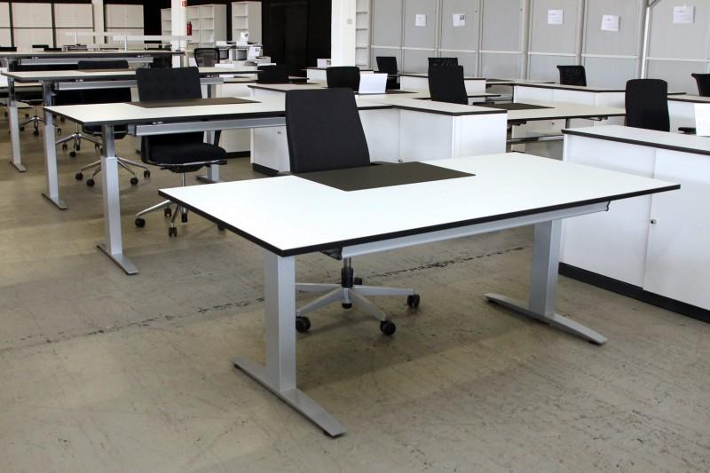 Haworth Schreibtisch Hohenverstellbar Kunstharz Weiss 100 X 200 Cm