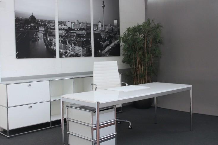 USM Haller Granit / Weiß Schreibtisch 200 x 75 cm