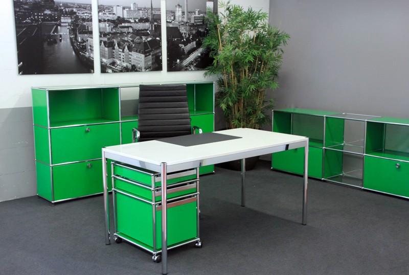 USM-Haller Granit / Weiß Schreibtisch 150 x 75 cm