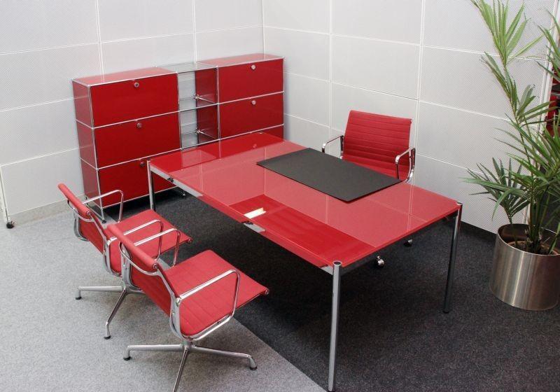 USM Haller Schreibtisch Glas / Rot 200 x 100 cm