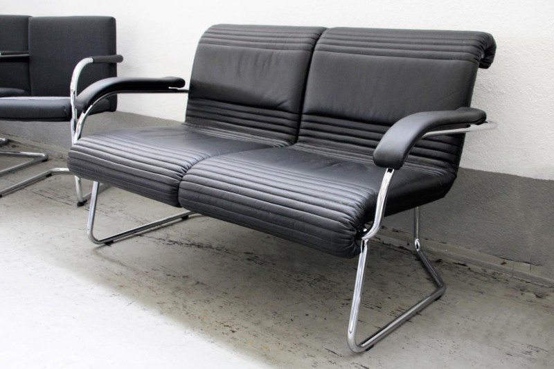 Girsberger 2er Sofa Leder / Schwarz / Grau