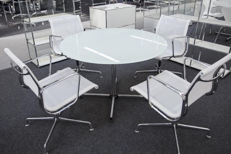 USM-Kitos Konferenztisch Glas / Weiß Ø 110 cm