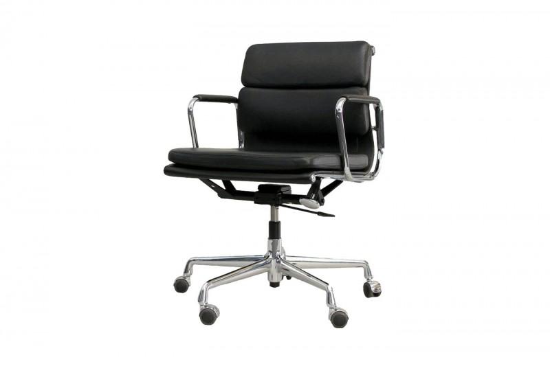 Vitra Soft Pad EA 217 Bürodrehstuhl Leder / Schwarz