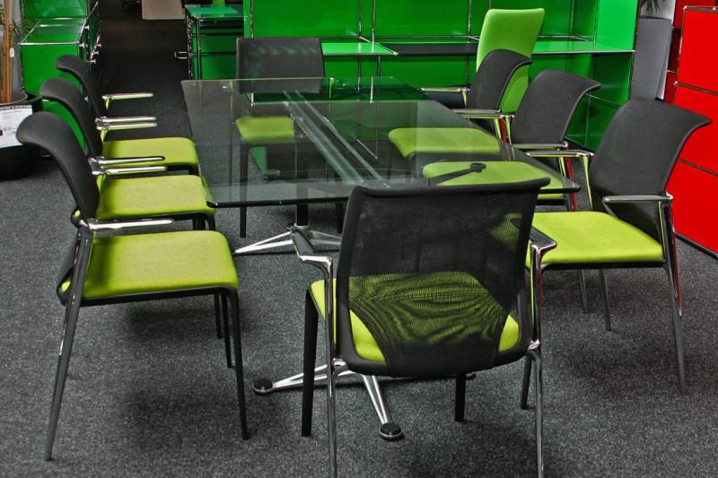 Herman Miller Burdick Konferenztisch Glas 200 x 100 cm