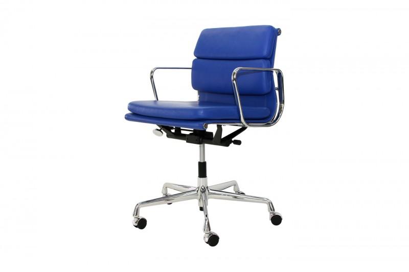 Vitra Soft Pad EA 217 Bürodrehstuhl Leder / Blau
