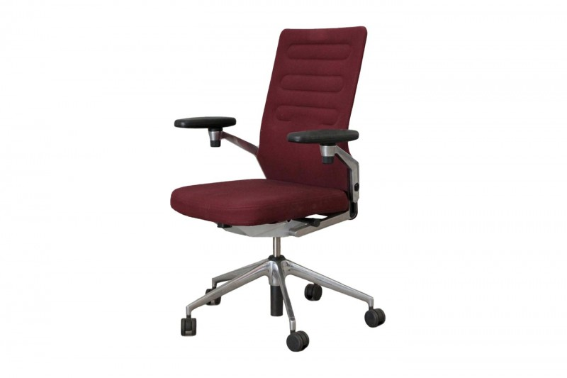 Vitra AC 4 Bürodrehstuhl Stoff / Weinrot