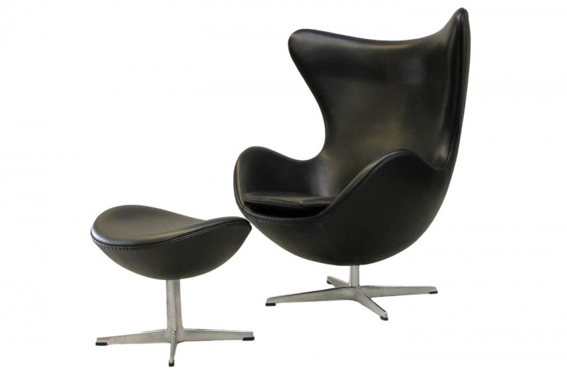 Fritz Hansen Egg Chair inkl. Ottomane Leder / Schwarz