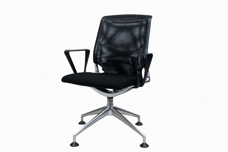 Vitra Meda Chair Besucherstuhl Netz / Stoff / Schwarz