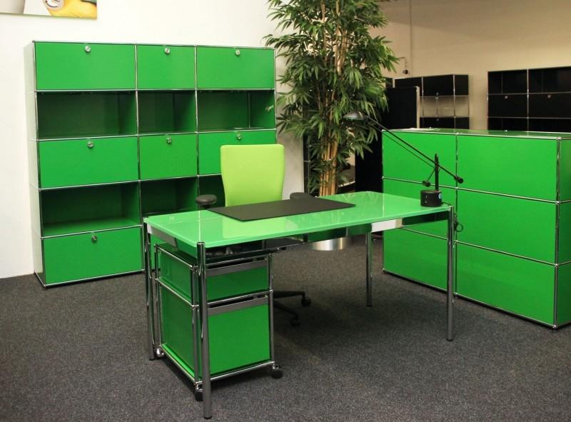 USM Haller Schreibtisch Glas / Grün 150 x 75 cm