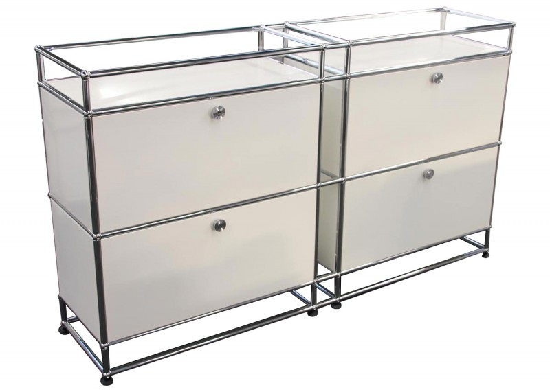 USM Haller Sideboards with Glass Shelves / Pure White RAL 9010